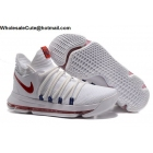 wholesale Mens Nike Zoom KD 10 USA White Red Basketball Shoes