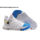 wholesale Mens Nike Zoom KD 10 White Blue Basketball Shoes