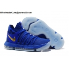 wholesale Mens Nike Zoom KD 10 Finals PE Blue Gold Basketball Shoes