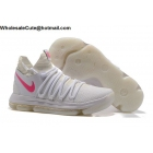wholesale Mens Nike Zoom KD 10 White Pink Basketball Shoes