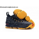 wholesale Nike LeBron 15 Navy Blue Yellow Red Mens Shoes