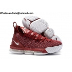 wholesale Nike LeBron 16 Wine Red White Mens Shoes