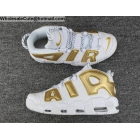 wholesale Nike Air More Uptempo White Gold Mens Shoes