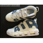 wholesale Supreme Nike Air More Uptempo White Blue Denim Mens Shoes