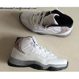 Air Jordan 11 Retro White Grey Black Mens Shoes