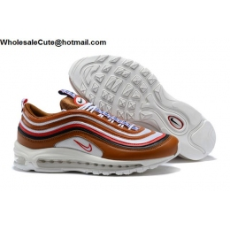 Nike Air Max 97 SE Pull Tab Brown White Red Mens Shoes