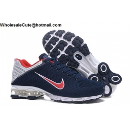 Nike Air Shox Flyknit Navy Blue White Red Mens Shoes