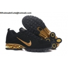 wholesale Nike Air Shox Flyknit Black Gold Mens Shoes