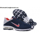wholesale Nike Air Shox Flyknit Navy Blue White Red Mens Shoes