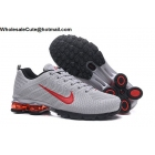 wholesale Nike Air Shox Flyknit Grey Red Mens Shoes