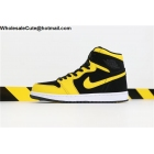 wholesale Air Jordan 1 Retro Black Yellow White Mens Shoes