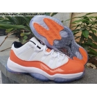wholesale Air Jordan 11 Low White Orange Mens Shoes