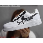 wholesale Mens & Womens Supreme Nike Air Force 1 Low White Black