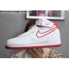 wholesale Nike Air Force 1 Mid White Red Mens Shoes