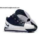 wholesale Nike LeBron 3 White Navy Blue Mens Shoes