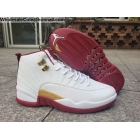 Air Jordan 12 White Wine Red Gold Mens Shoes
