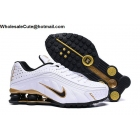 Nike Shox R4 White Black Gold Mens Shoes