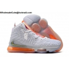 Nike LeBron 17 White Orange Mens Shoes