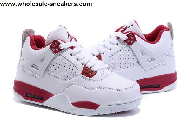 new products 18254 a3b10 Kids Air Jordan 4 Retro White Red Shoes -11751 - Wholesale ...