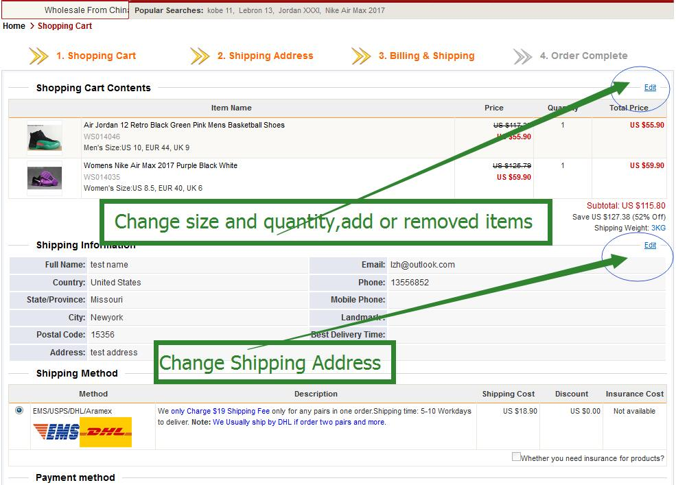How to change items and shipping address