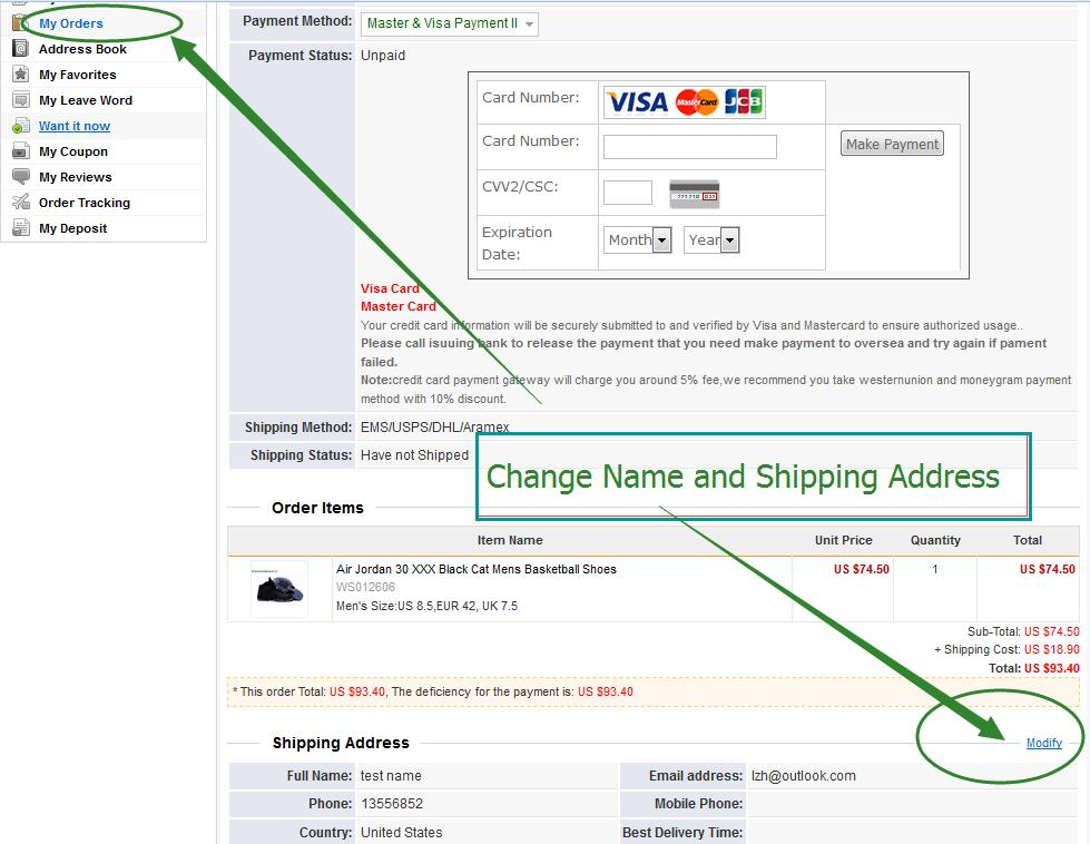 how to change shipping address